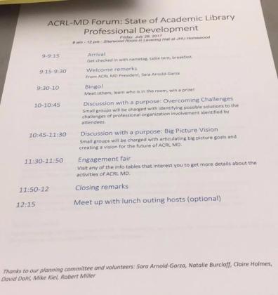 Picture of paper agenda handout